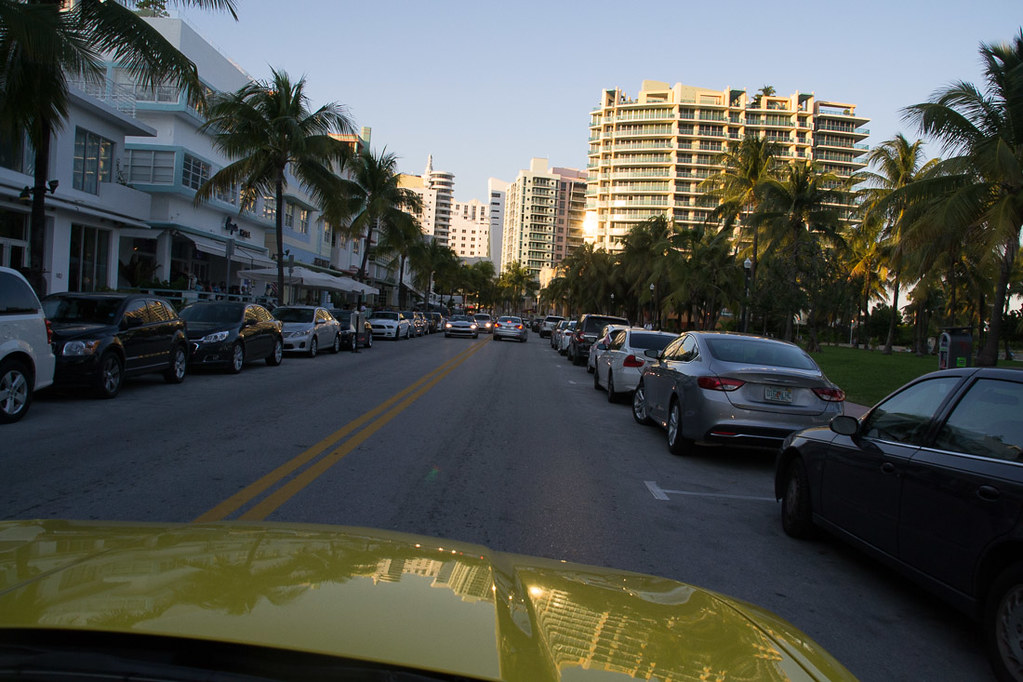 Driving along Ocean Drive in South Beach