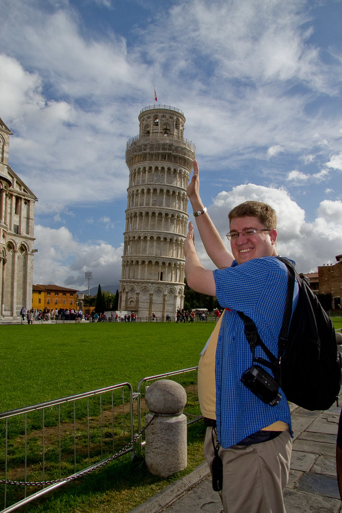 Ken holding up the Leaning Tower of Pisa
