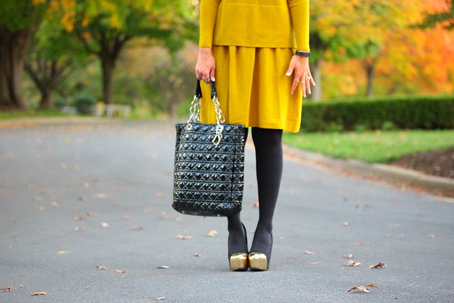 Dress - COS Leggings - Hanes Shoes - JustFab Bag - Dior Mustard Dreams Tanvii.com
