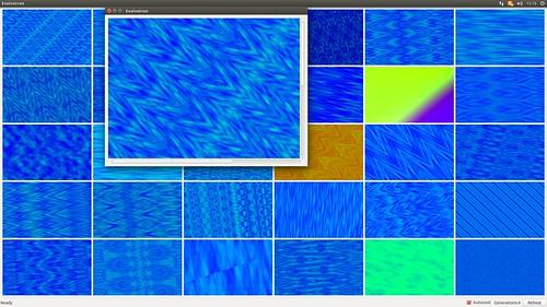 "Evolvotron_SS_(2015_11_27)_1 ジェネレーティヴ アートのアプリケーション ソフトウェアである ""Evolvotron"" のスクリーンショット画像。メイン ウィンドウには多数の様々な模様が表示されている。"