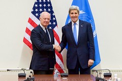 U.S Secretary of State John Kerry shakes hands with United Nations Special Envoy for Syria Staffan de Mistura on December 1, 2015, at NATO Headquarters in Brussels, Belgium, before a bilateral meeting on the sidelines of a NATO Ministerial meeting. [State Department photo/ Public Domain]