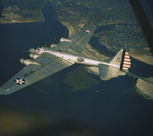 Boeing XB-15 4641R  in flight near area Mitchell field 1941.