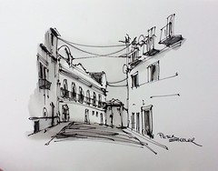 """Street scene"" mixing different inks. Lisbon Portugal. New YouTube Video."