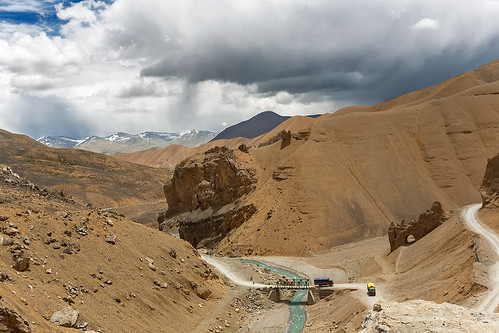 A natural arch on the Leh-Manali Highway in Kashmir, India.