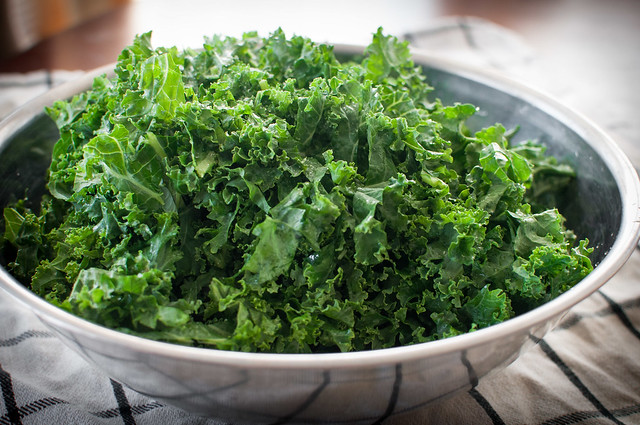 Kale pile for healthy Mexican kale salad