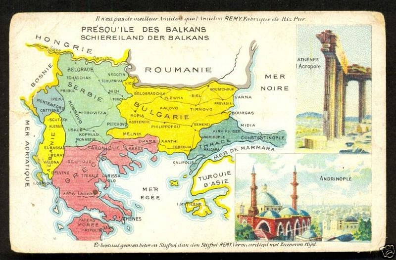 The Balkans after the Treaty of Bucharest issued on postcard by Belgian manufacturer Amidon Rémy