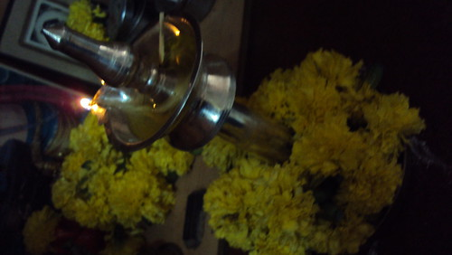 lamp with marigold flowers