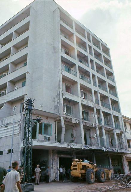 SAIGON 1965 - Damaged building - METROPOLE HOTEL bị đánh bom ngày 4-12-1965