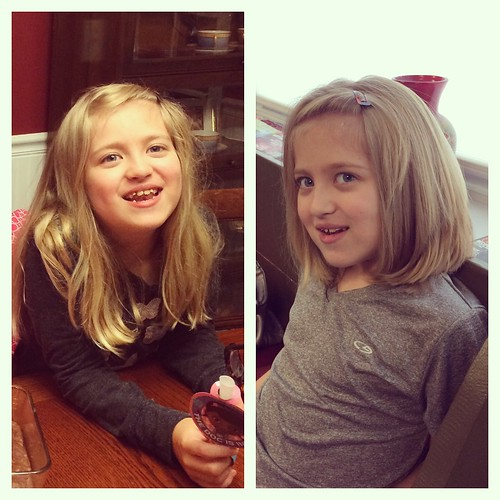 Catie's haircut before & after