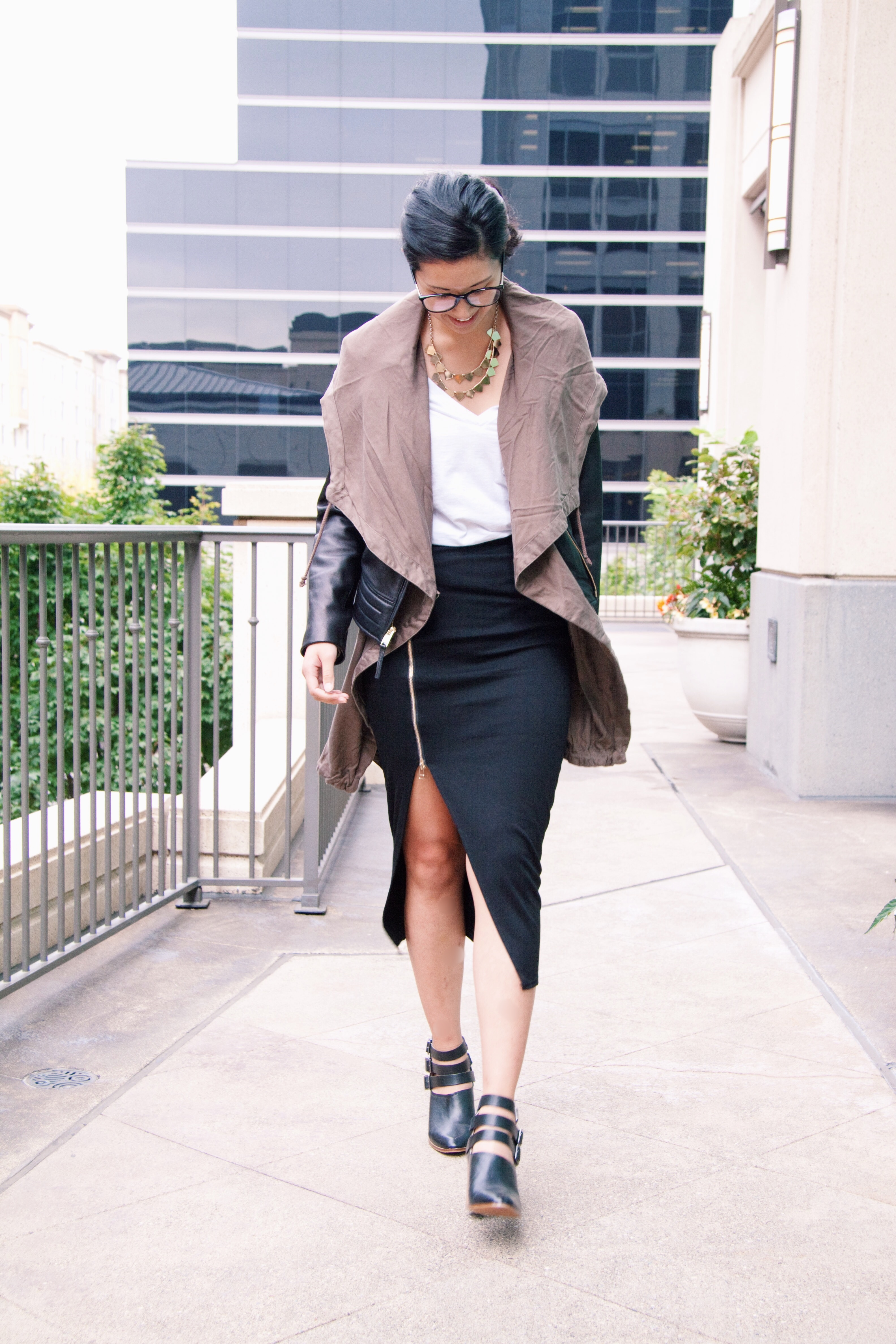 pencil skirt with leather jacket