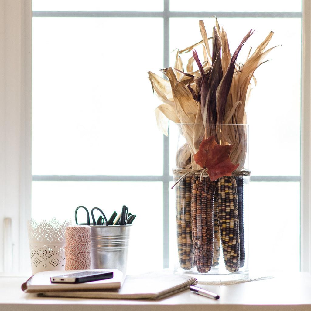 Ornamental Corn Arrangement in a Cylinder Vase