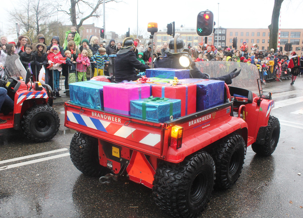 Sinterklaasintocht Fire Brigade vehicle with gifts