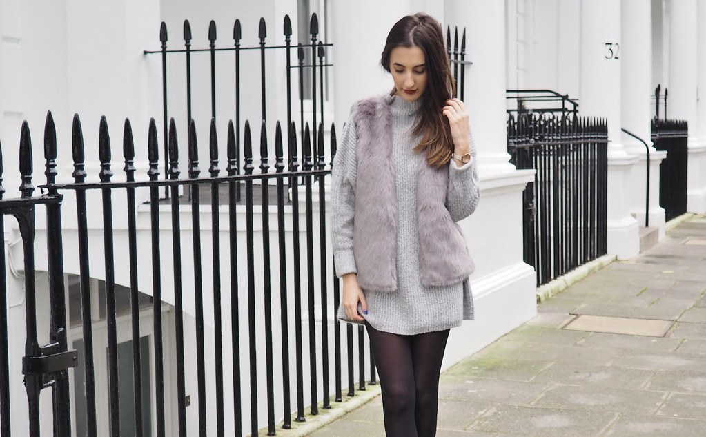GREY ROLLNECK DRESS