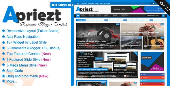 ThemeForest Apriezt v2.1 – Responsive Magazine/News Blogger Theme