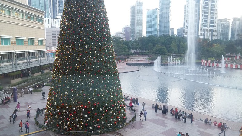 A giant Christmas tree outside KLCC.