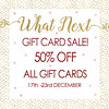 50% off gift cards at What Next