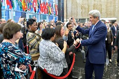 U.S. Secretary of State John Kerry bids farewell to State Department employees after delivering remarks at the U.S. Department of State in Washington, D.C., on January 19, 2017. [State Department photo/ Public Domain]