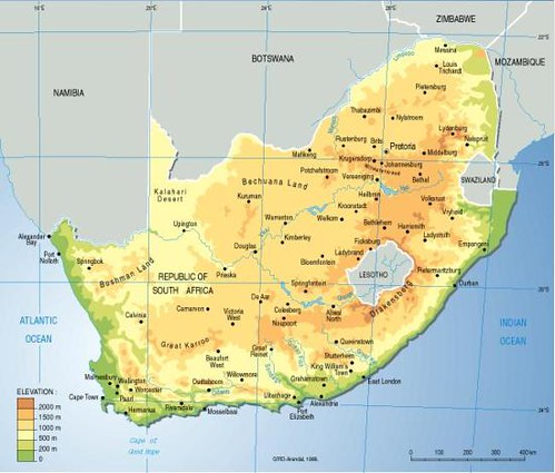 South Africa Topographic Map GRIDArendal - Map of south africa