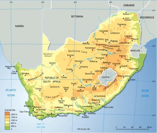 South Africa Topographic Map Grid Arendal