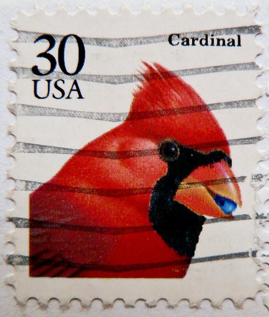 great stamp USA 30c Cardinal (Northern Cardinal, Rotkardinal, Cardinalis cardinalis, cardenal norteño, Cardinal rouge, vörös kardinálispinty, ショウジョウコウカンチョウ, Красный кардинал, cardeal) United States of America timbre États-Unis u.s. postage selo Estados Un