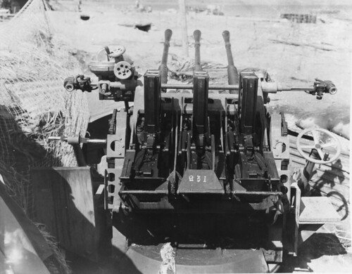Japanese  25 mm AA gun Type 96, captured by u.s. Marines in one of the beaches of the island of Guadalcanal 1943