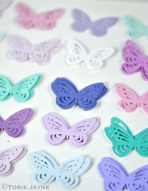 Punched paper butterflies