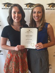OSU's Achafoa chapter of Mortar Board received the Gold Torch Award at the Mortar Board National Conference in Phoenix, Ariz. Courtney Wolfe, Achafoa chapter vice president (left) and Emily Martin, Achafoa chapter president, represented the chapter at the conference.