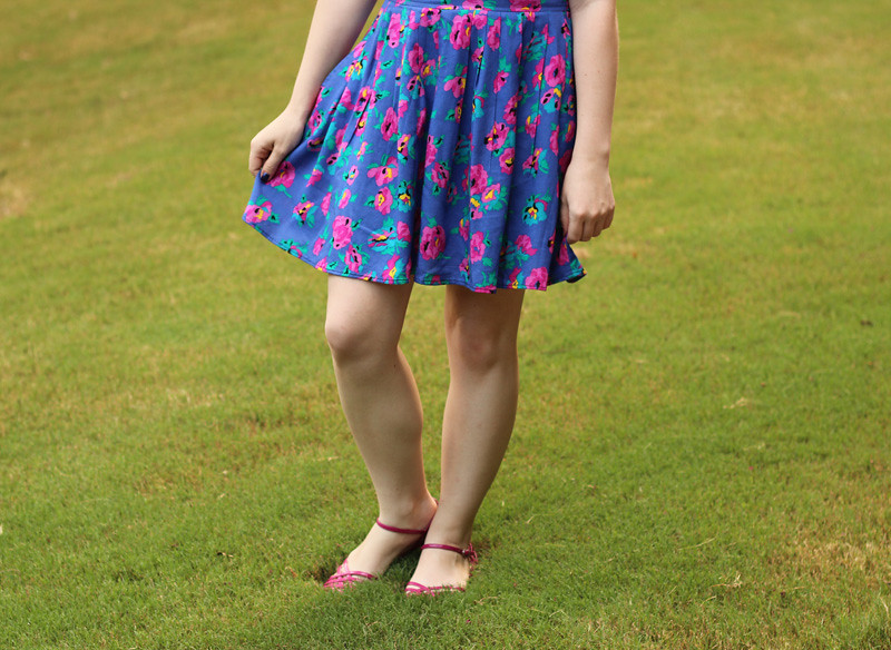 Vintage Colorful Floral Skirt and Pink Sandals