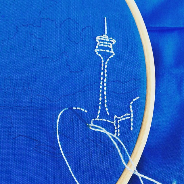 So happy that my work requires me to step away from the computer. #airembroideryclub #embroidery #illustration