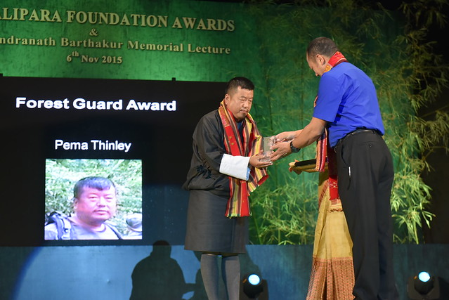 Pema Thinley from Bhutan receiving the 2015 Forest Guards Award from Mr. Sonam Wanchuk