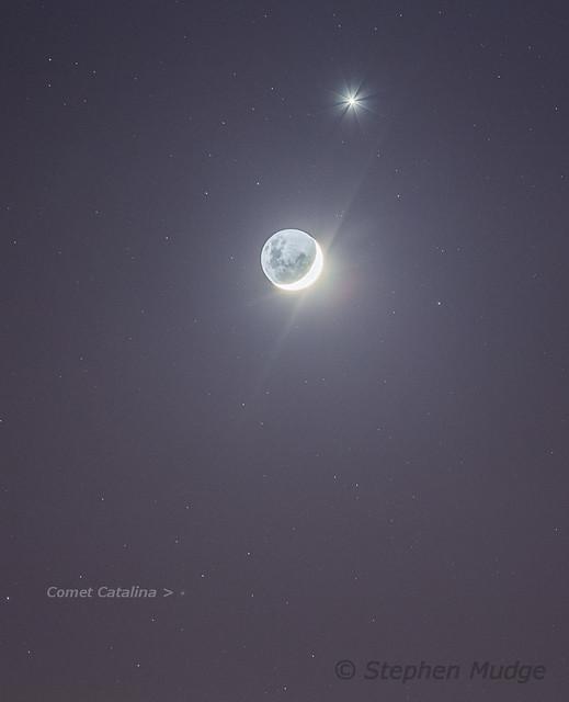 Comet Catalina, Moon and Venus 8Dec15