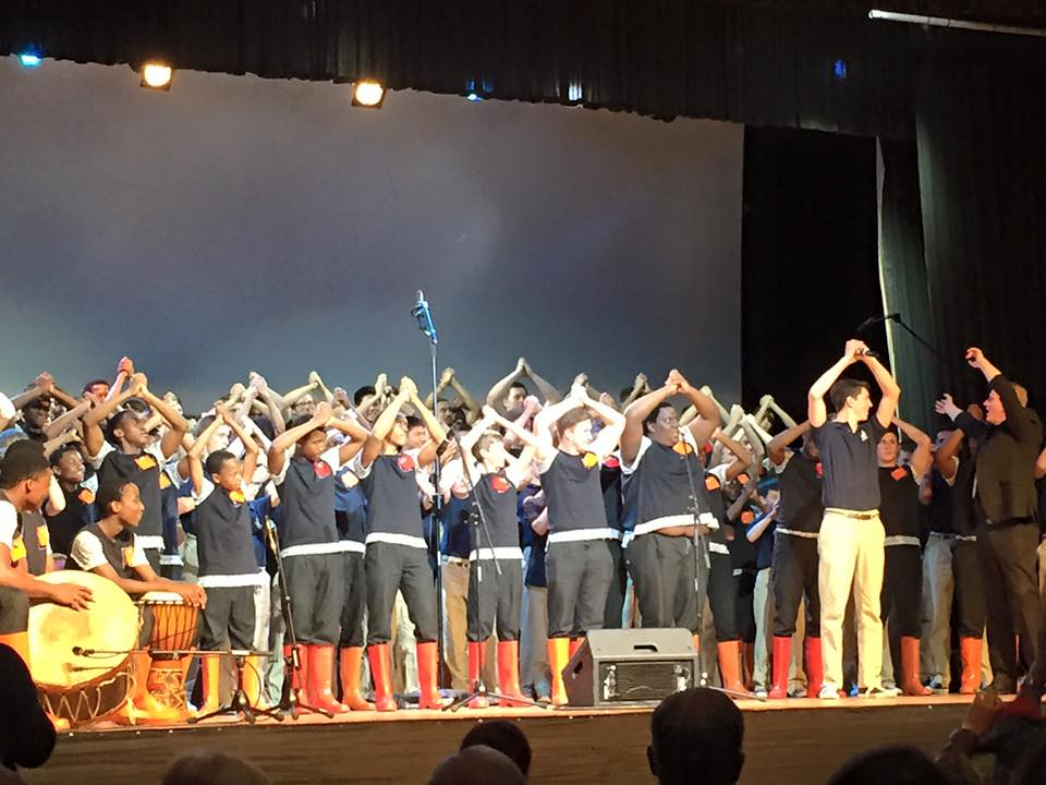 Ragazzi Boys Chorus performs with Kearsney College Choir at Kearsney College in Botha's Hill, South Africa