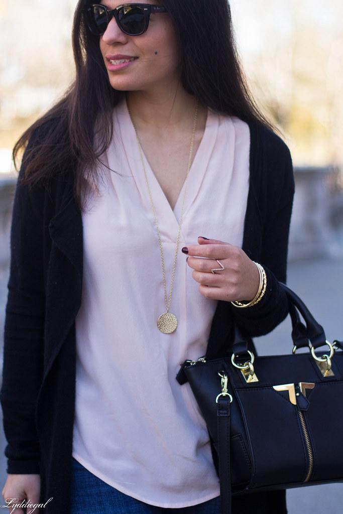 pink silk blouse, jeans, black cardigan, booties-6.jpg