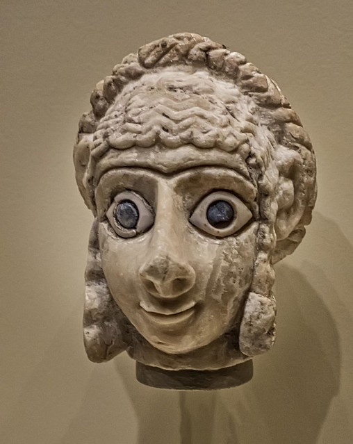 Head of a Woman from Khafajah Iraq (ancient Tutub) Early Dynastic III mid-3rd millennium BCE Limestone with shell and lapis lazuli