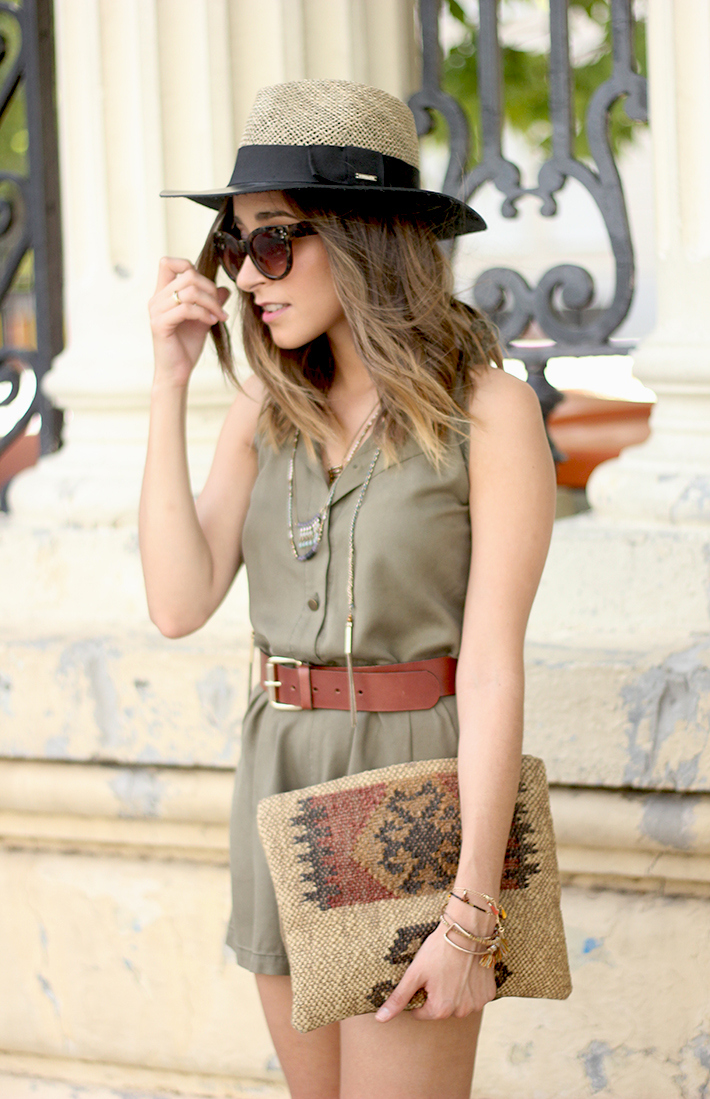 Khaki Jumpsuit Hat Clutch Summer Outfit 06