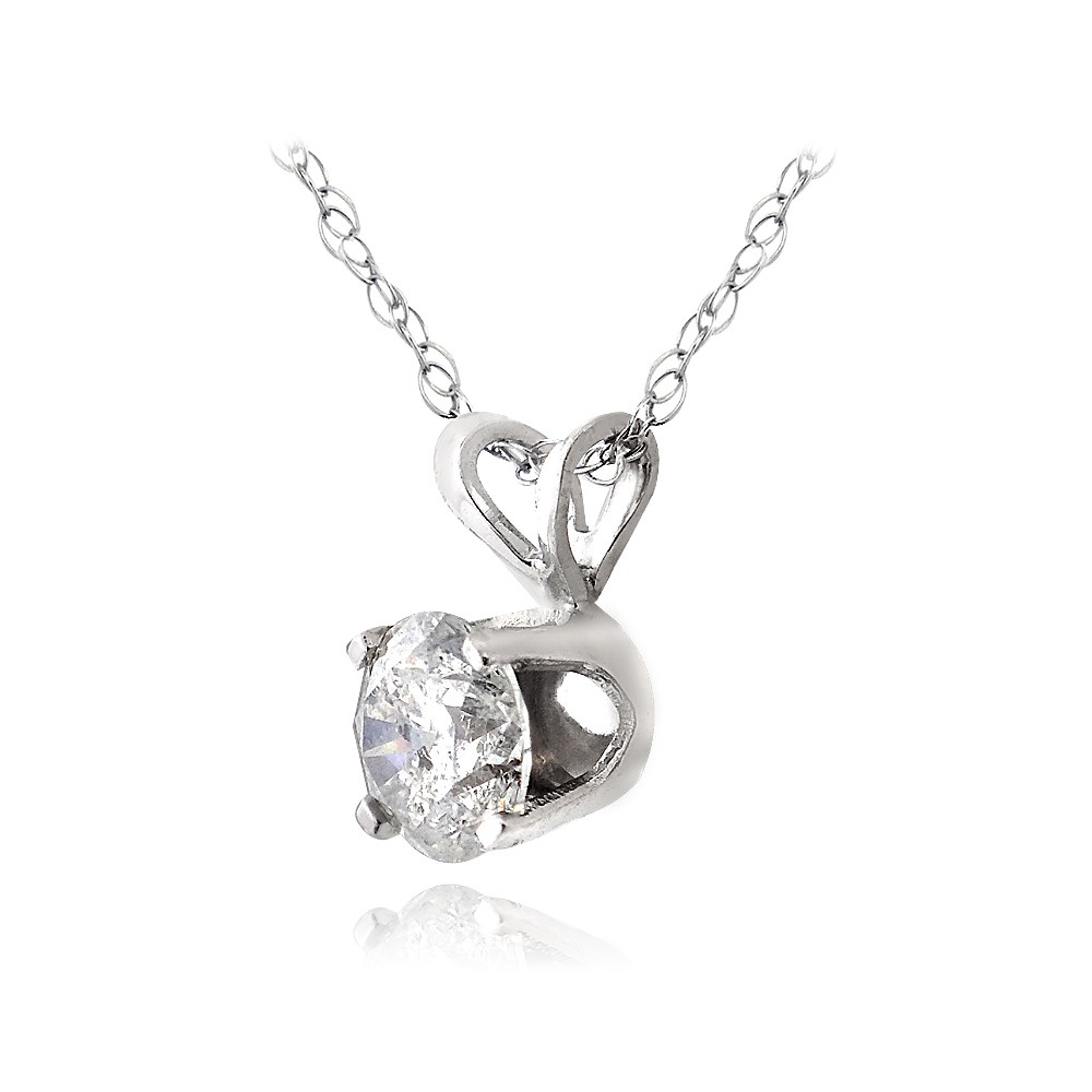 1 3 Ct Round Diamond 14k Gold Solitaire Necklace G H I2