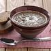 Mushroom cream soup with black garlic