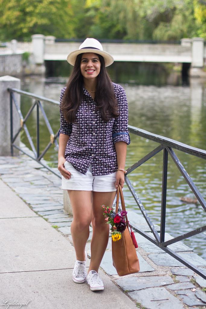 swan print shirt, white shorts, panama hat, converse-1.jpg