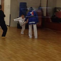 Teagan got to #kick and #punch Thursday at #taekwondo