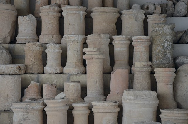 Limestone funerary cippi, the most common funerary monuments in Roman Cyprus, Larnaka District Archaeological Museum, Cyprus