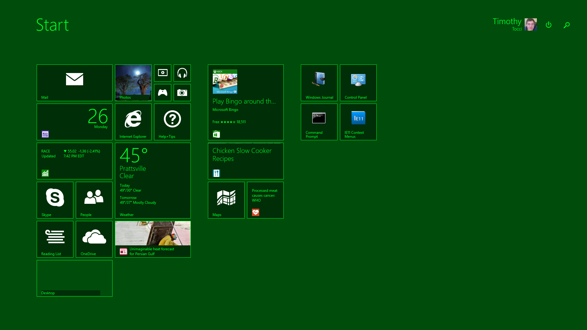 MilSpecGreen Windows 8 Start Screen
