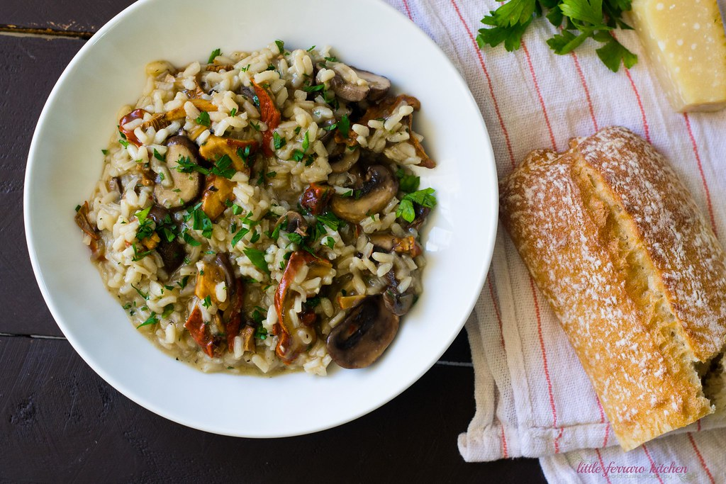 Wild Mushroom Risotto loaded flavored with red wine, fresh herbs and Parmesan cheese.