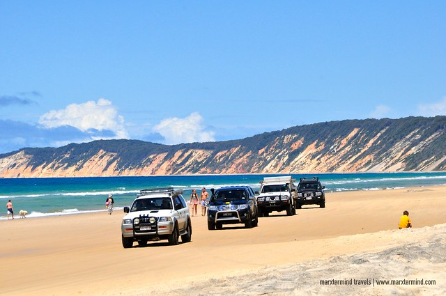 Cars Passing along Rainbow Beach