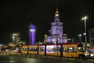 Palace of Culture and Warsaw skyline at night