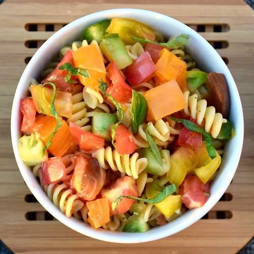 fusilli with heirloom tomatoes