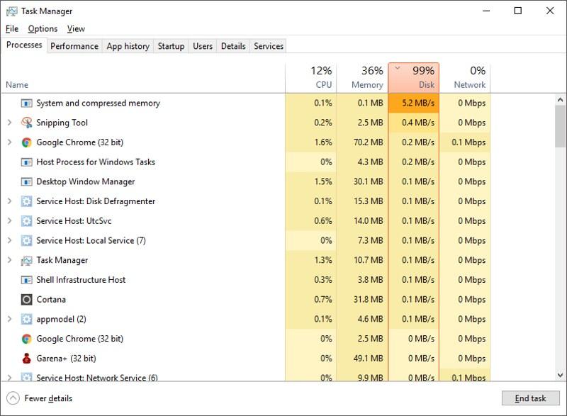 fix high disk usage windows 10