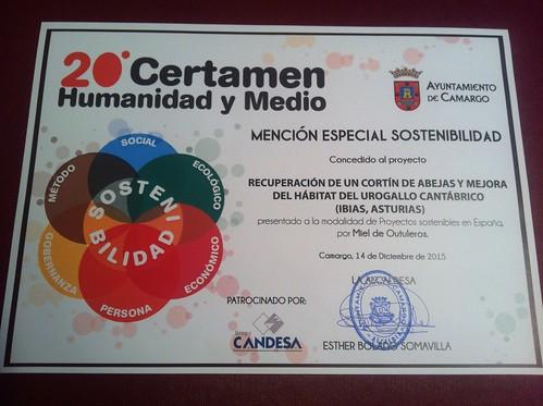 Diploma de la Mención Especial de Sostenibilidad otorgada al Proyecto del Cortín de Villarmeirin