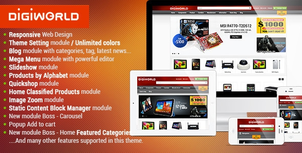 Premium Responsive OpenCart Theme – Digital World