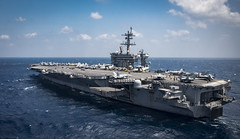 In this file photo, USS Carl Vinson (CVN 70) operates in the South China Sea in March. (U.S. Navy/MC2 Z.A. Landers)